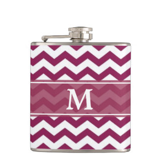 Maroon White Chevron Monogram Flask