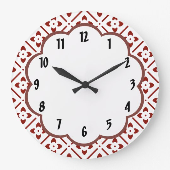 Maroon White Floral Pattern  Wall Clock