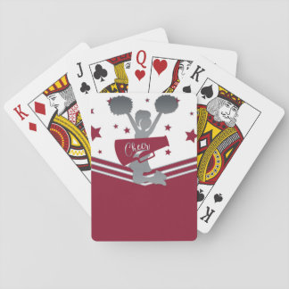 Maroon White Silver Stars Cheer Cheer-leading Playing Cards