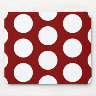 Maroon with White Polka Dots Mouse Pad