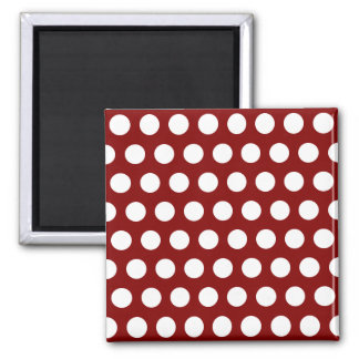 Maroon with White Polka Dots Square Magnet