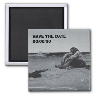 Marooned Pirate Save the Date Square Magnet