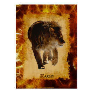 Marozi Lion African-themed Wildlife Art Poster