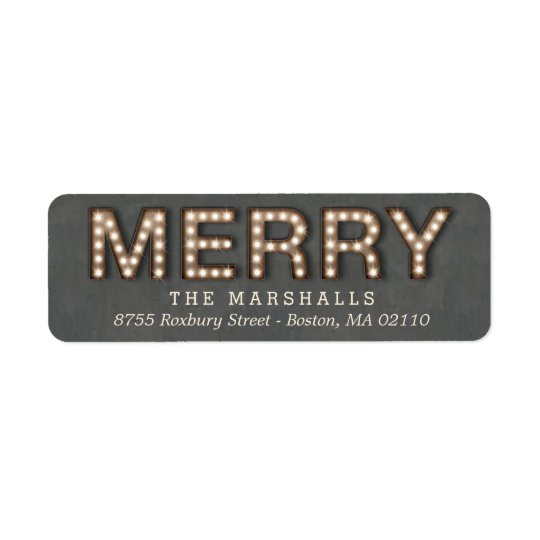 Marquee Lights Holiday Return Address Labels