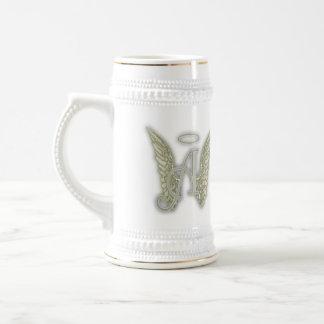 Marquez avec des lettres un monogramme d'ange tasse à café