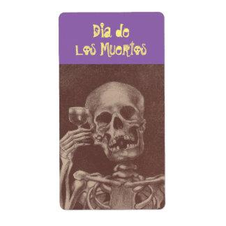 Marquez dia de los muertos crâne squelettique de étiquette d'expédition