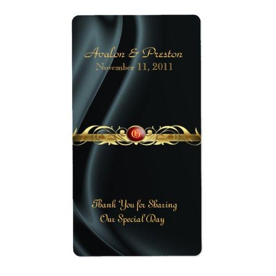 Marquis Black Silk Ruby Scroll Wine Wedding Label