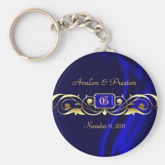 Marquis Blue Silk Gold Scroll Keychain