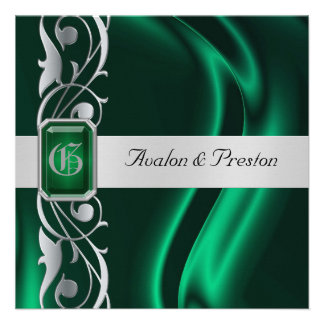 Marquis Emerald Silk Green Jewel Invitation