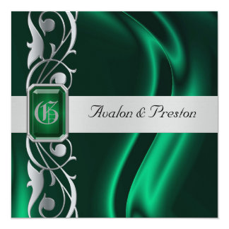 Marquis Emerald Silk Green Jewel Invitation