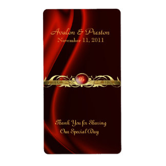 Marquis Red Silk Gold Scroll Wine Wedding Label Shipping Label
