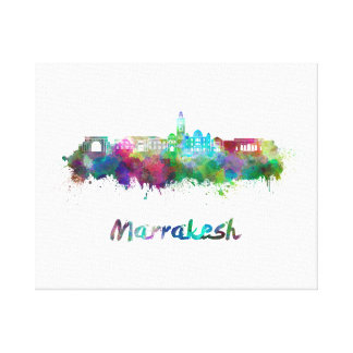 Marrakesh skyline in watercolor canvas print