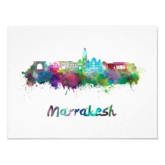 Marrakesh skyline in watercolor photographic print