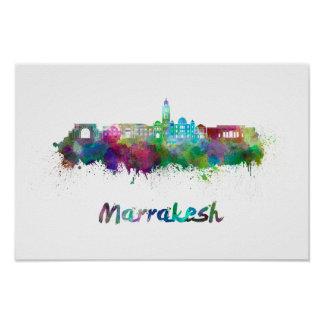 Marrakesh skyline in watercolor poster
