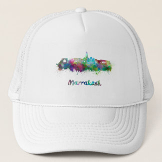 Marrakesh skyline in watercolor trucker hat