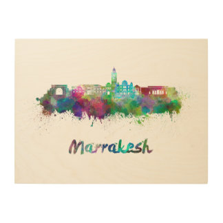 Marrakesh skyline in watercolor wood canvas