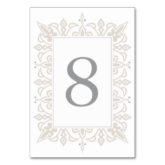 Marrakesh Table Number Card | Linen Greige Table Cards