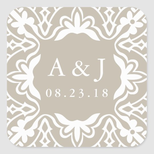 Marrakesh Wedding Monogram Stickers | Linen Greige