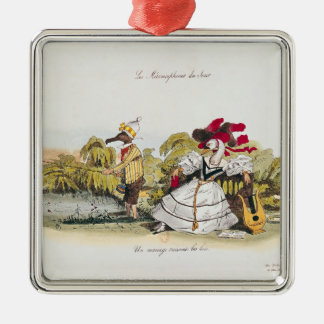 Marriage by the Book Silver-Colored Square Ornament