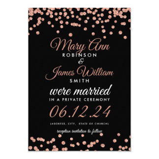 Marriage Elopement Rose Gold Glitter Confetti Blac Card