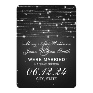 "Marriage / Elopement Sparkling Lines Black 4.5"" X 6.25"" Invitation Card"