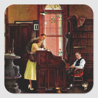 Marriage License by Norman Rockwell Square Sticker