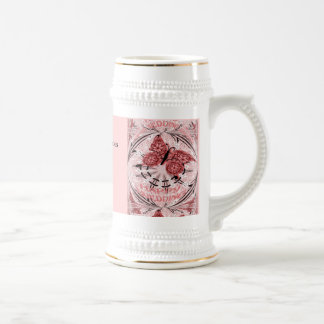 Marriage memories; Butterfly Dusty Pink Beer Stein