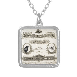 Marriage of Bird & Bee Silver Plated Necklace