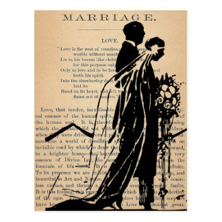 Marriage Poem by Longfellow Bride Groom Silhouette Postcard