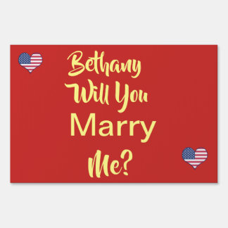 Marriage Proposal Red Yard Sign