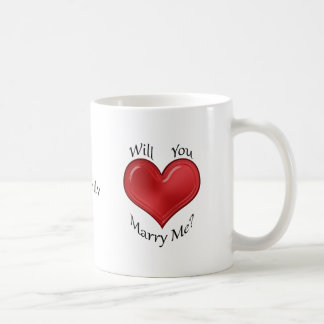 Marriage Proposal with Glossy Red Heart Coffee Mug
