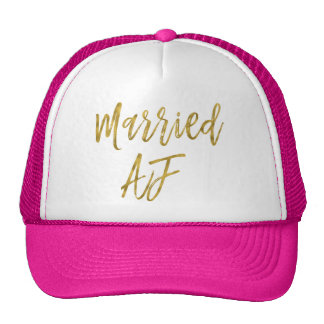 Married AF Gold Foil and White Trucker Hat