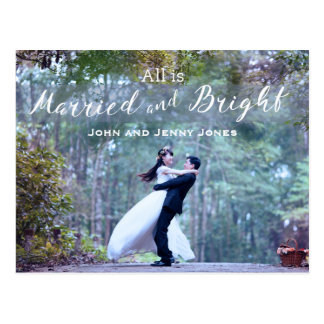 Married and Bright Newlywed First Christmas Postcard