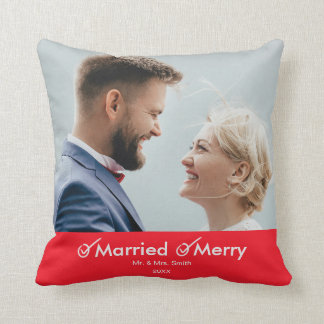 Married and Merry | 1st Christmas Married Photo Throw Pillow