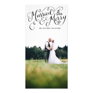 Married and Merry Black Hand Lettered Holiday Card