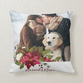 married and merry christmas photo pillow