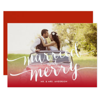 Married and Merry First Christmas Holiday Photo Card