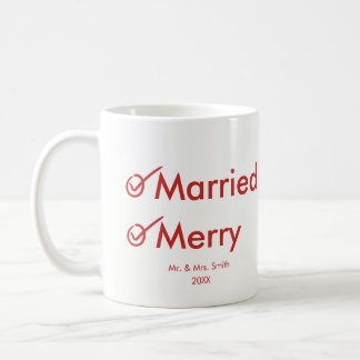 Married and Merry | First Married Christmas Coffee Mug