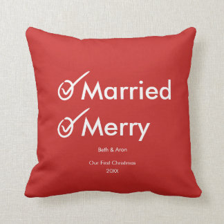 Married and Merry | First Married Christmas Throw Pillow