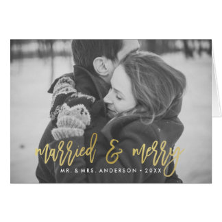 Married and Merry | Gold Folded Holiday Photo Card