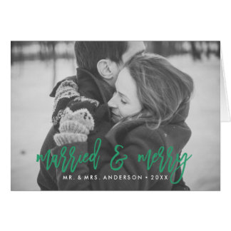 Married and Merry Green Folded Holiday Photo Card
