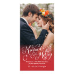 Married and Merry Hand Lettered Red Holiday Photo Cards