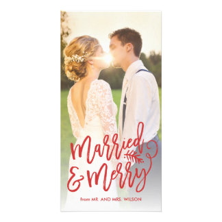 Married and Merry Holiday Photo Red Card