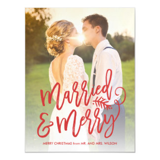 Married and Merry Holiday Photo Red Magnetic Card