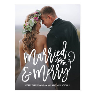 Married and Merry Holiday Thank You Photo Postcard