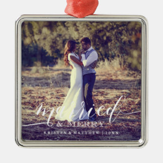 Married and Merry Newlyweds Christmas Photo Silver-Colored Square Ornament