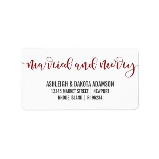 Married And Merry Red Calligraphy | Newlywed Photo Label