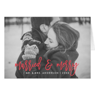 Married and Merry Red Folded Holiday Photo Card