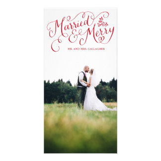 Married and Merry Red Hand Lettered Holiday Photo Cards