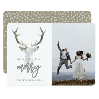 MARRIED AND MERRY   RUSTIC DEER CARD